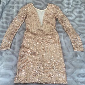 Fashion Nova rose gold dress